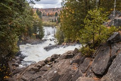 Oxtongue River-Ragged Falls during fall, after a day of rain. Waterfalls in Ontario during fall