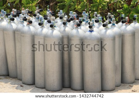 Oxygen cylinders for deep divers. #1432744742