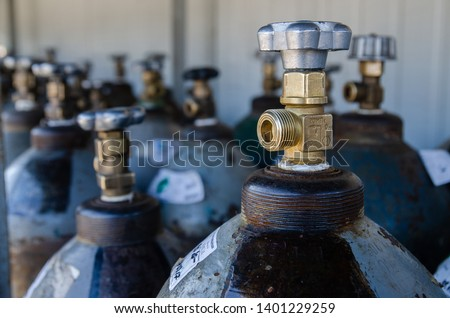 Oxygen cylinders. Steel cylinders with compressed air. #1401229259