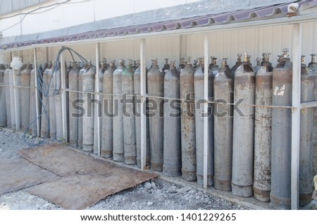 Oxygen cylinders. Steel cylinders with compressed air. #1401229265