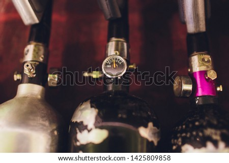 Oxygen cylinders. Steel cylinders with compressed air. #1425809858