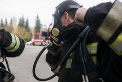 Oxygen mask, Gas mask, Firefighters mask of Firefighters. Been through