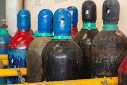 Oxygen tank set hurts well. Oxygen tank tank in the factory. Old argon tank storage in factory.