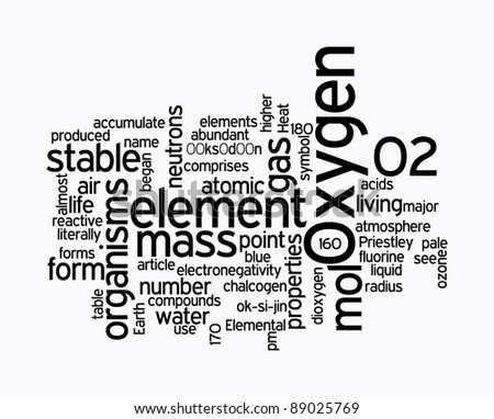 oxygen text cloud on white background - stock photo