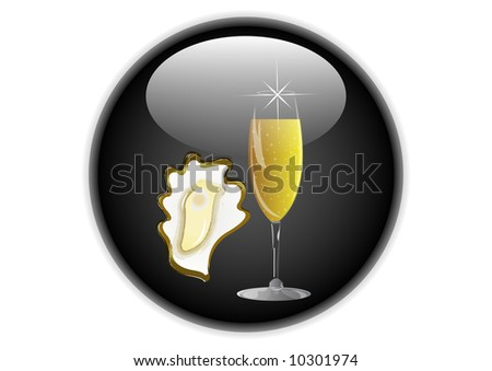 oyster and champagne icon button