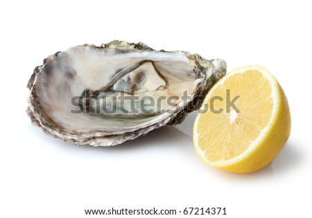 Oyster and lemon on white background