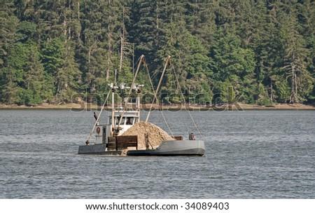 Oyster boat on Willipia bay Washington