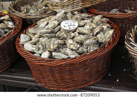 Oyster market in Cancale, France