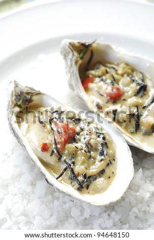 Oyster on salt