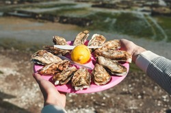 Oysters plate, Cancale, Breton Capital of Oysters, France. A plate of fresh oysters with lemon close-up in female hands on a background of an oyster farm in Cancale - Breton capital of oysters, France