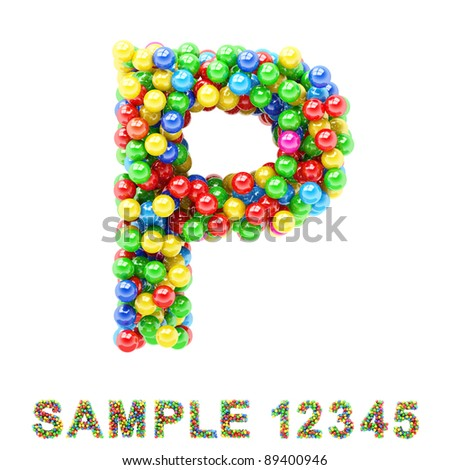 P: Colorful letters and numbers on white background.