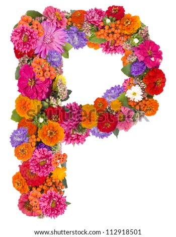 P,flower alphabet isolated on white - stock photo