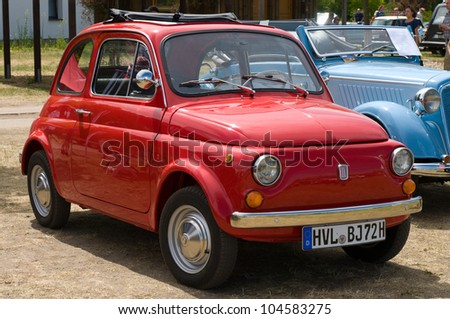 """PAAREN IM GLIEN, GERMANY - MAY 26: The Fiat 500, """"The oldtimer show"""" in MAFZ, May 26, 2012 in Paaren im Glien, Germany"""
