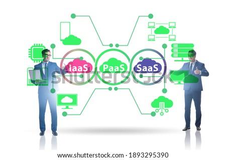 PAAS IAAS SAAS concepts with businessman