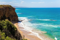Pacific coast, sandy beach and the rest of the rock. Australia. Travel to the Southern Hemisphere Fabulous journey to Australia.
