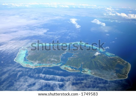 Pacific Island hidden by the clouds, Huahine , French Polynesia