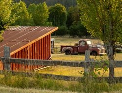 Pacific NW Puget Sound: Orcas Island farm scene with red barn and old Chevy Truck