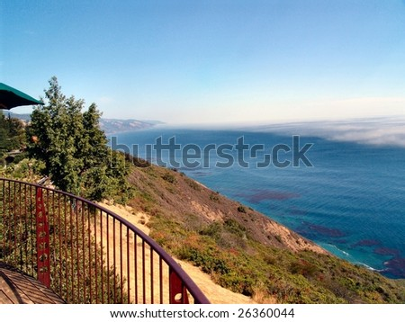 Pacific Ocean in Big Sur, looking from an upscale resort