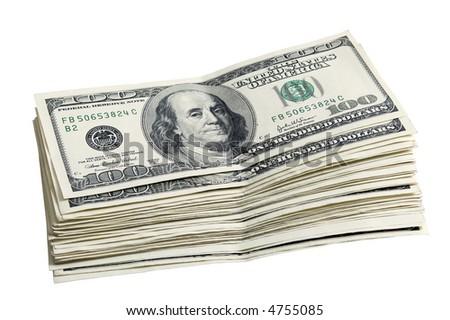 Pack of a 100 dollar bills close up