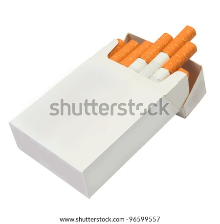 Pack of cigarettes isolated on white background - stock photo