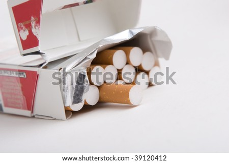 Pack of cigarettes on white
