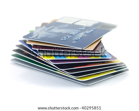 Pack of credit cards isolated on a white background