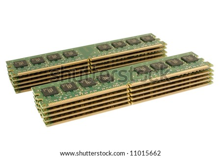 Pack of DDR2 Memory Modules, isolated.