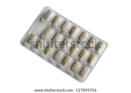 pack of diet pills, isolated on white - stock photo