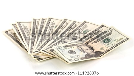 pack of dollars isolated on white