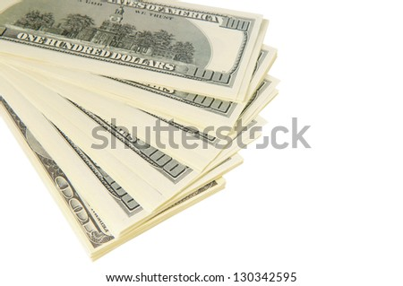 pack of dollars. isolated on white background
