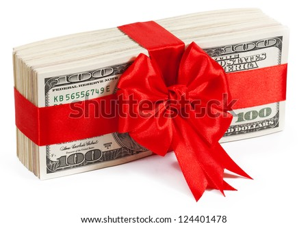 Pack of dollars tied with ribbon isolated on white background
