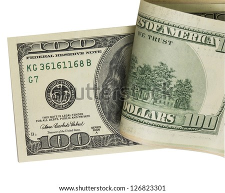 pack of dollars. (with clipping path)