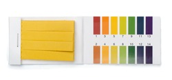 Pack of litmus test paper and color samples isolated on white