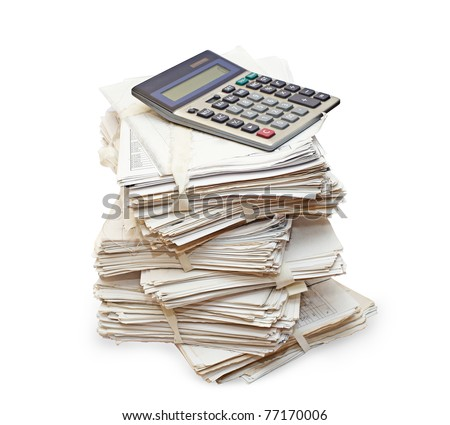 Pack of official papers with the calculator are isolated on the white