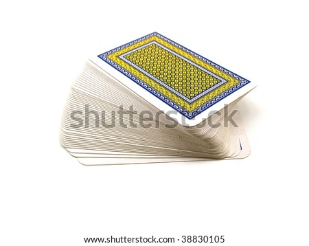 Pack of playing cards with a dark blue and yellow shirt isolated on a white background