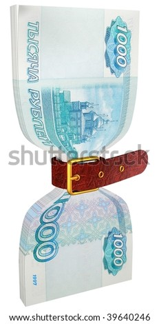 pack of 1000 ruble banknotes tightly constricted belt