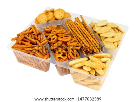 Pack of savoury pretzel and cracker snack mix isolated on a white background