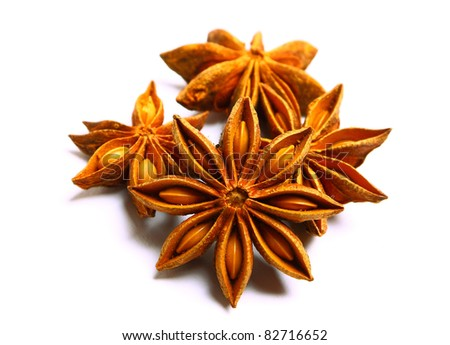 Pack of several anise stars isolated on white background