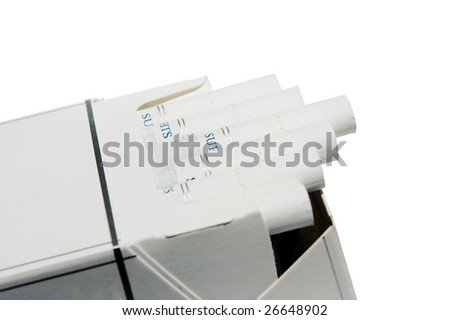 pack of super lights cigarettes with a filter on a white background