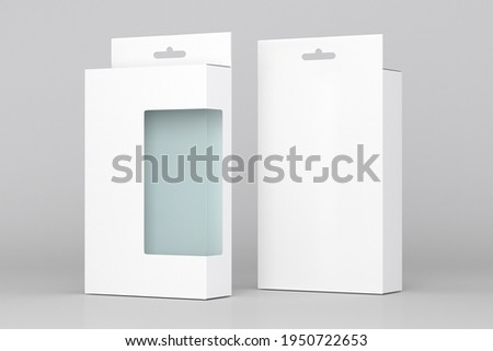package blank white box euro slot hanger for Pegboard- mockup back and front view for cooler, headphone, smartphone, accessories Stock photo ©