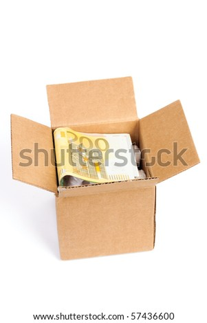 Package box with euro isolated on white background