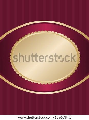 Package label with scallop edge gold oval and stripe panel accents.