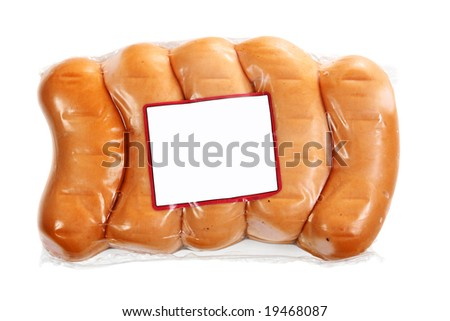 Package of small sausage isolated over white background
