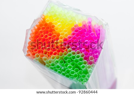 Package of straws Multi color , colorful ,close up shallow Depth of field