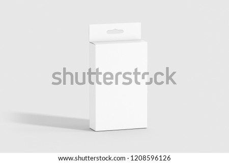 Package Rectangle Hanger Box mockup with hanger isolated on soft gray background. Can be used for your design and branding .3D illustration.