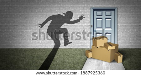 Package robbery and home delivery theft or porch pirate thief stealing packages from a house delivered to a front door as a burglar robbing boxes from a doorstep with 3D illustration elements. Zdjęcia stock ©
