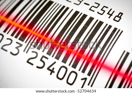 Package tracking barcode being read by a scanner.