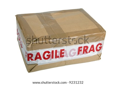 Package with Fragile tape isolated on white