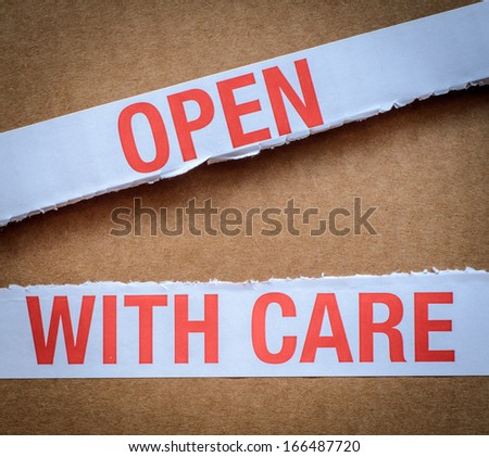 Package WIth Open With Care Label