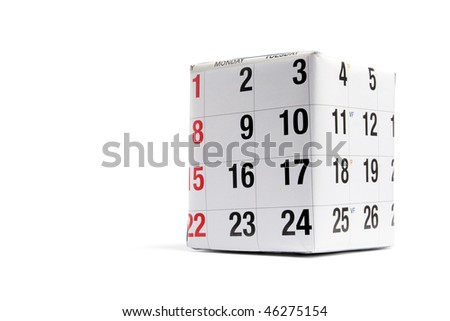 Package Wrapped with Page of Calendar on White Background